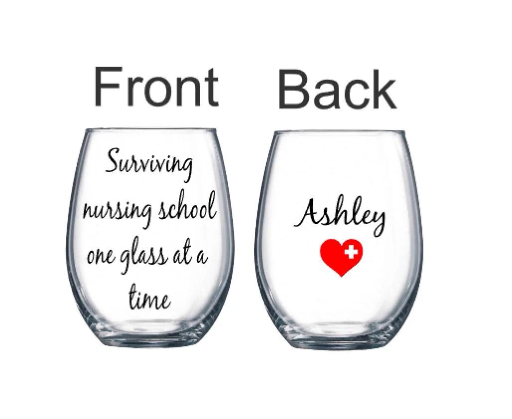Nursing student wine glass nursing gift student glass nurse