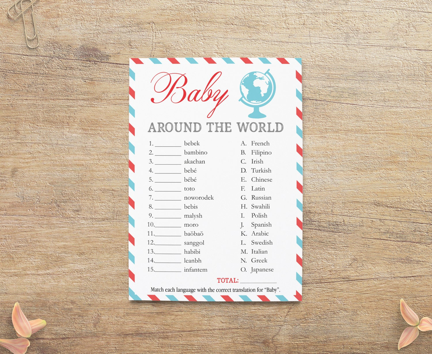 Baby Different Languages Game Word Baby Shower Games Travel