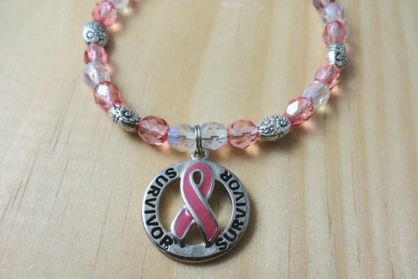 Breast Cancer Awareness Pink Ribbon Survivor Bracelet