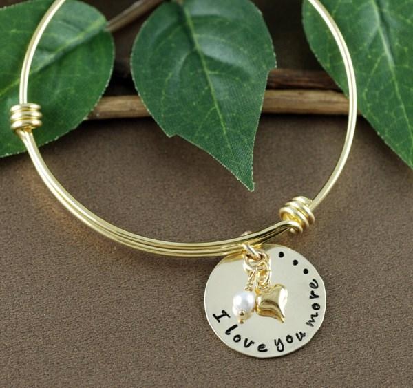 I Love You More Bracelet Heart Bracelet Personalized Bangle
