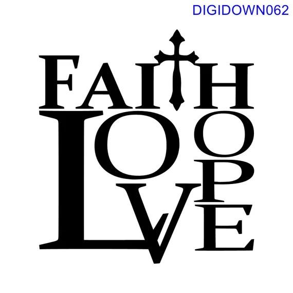 Download Faith Hope Love w/cross SVG Cut File mtc svg pdf eps