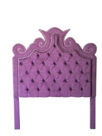Purple Velvet Tufted Headboard with Double Row of Crystals