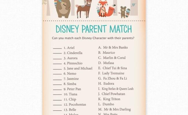 Baby Shower Games Disney Parent Match Game Disney