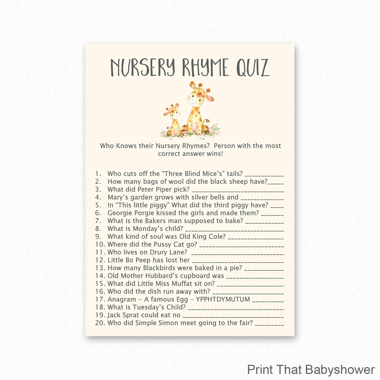 Giraffe Nursery Rhyme Quiz Game Baby Shower Games Giraffe