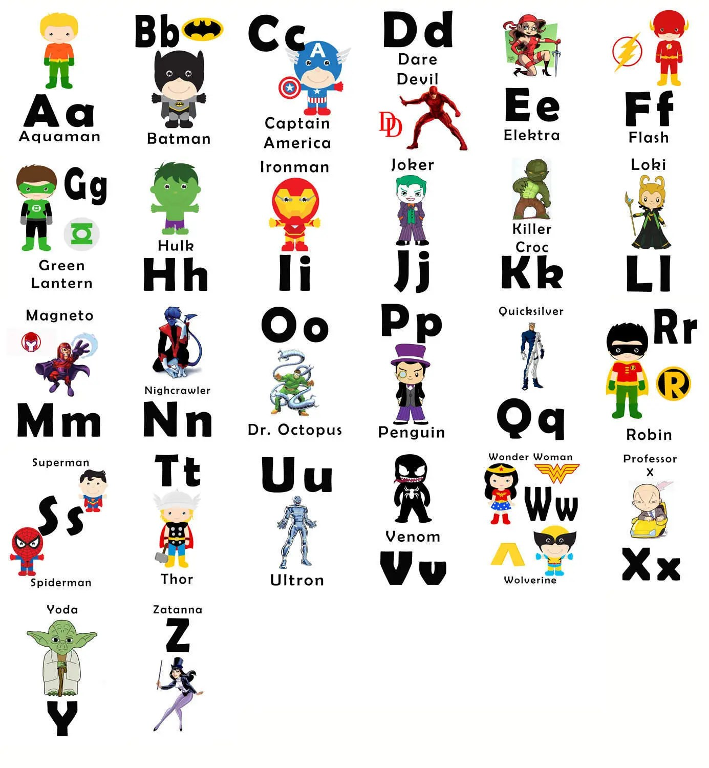 Abc Printable Flash Cards Digital Superhero Printable