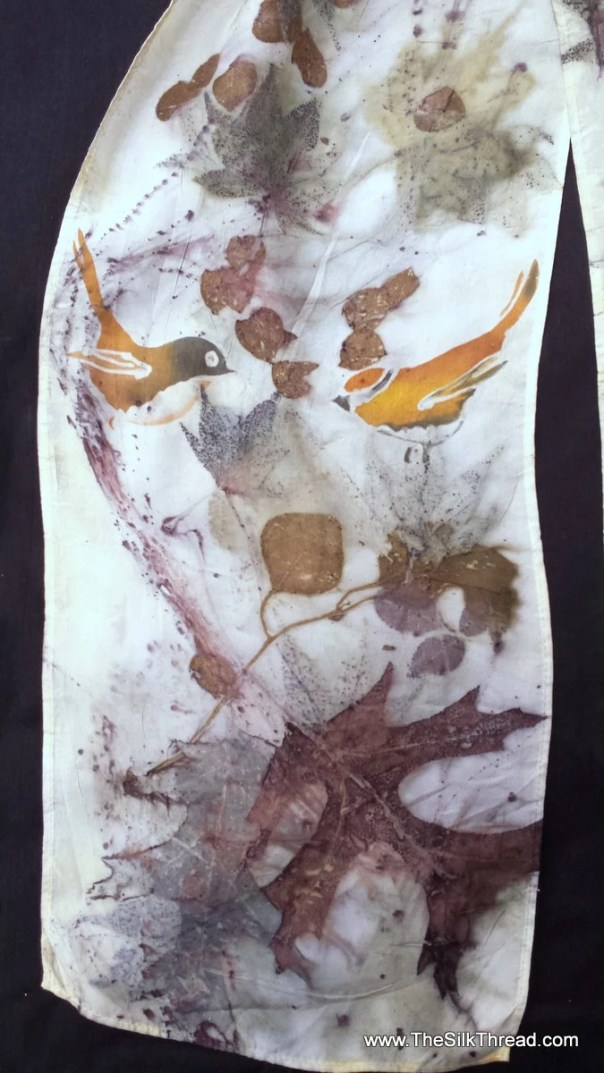 Silk Scarf, hand painted birds and ecoprinted designs with colors from Mother Nature, sustainable, organic art by artist, M Theresa Brown