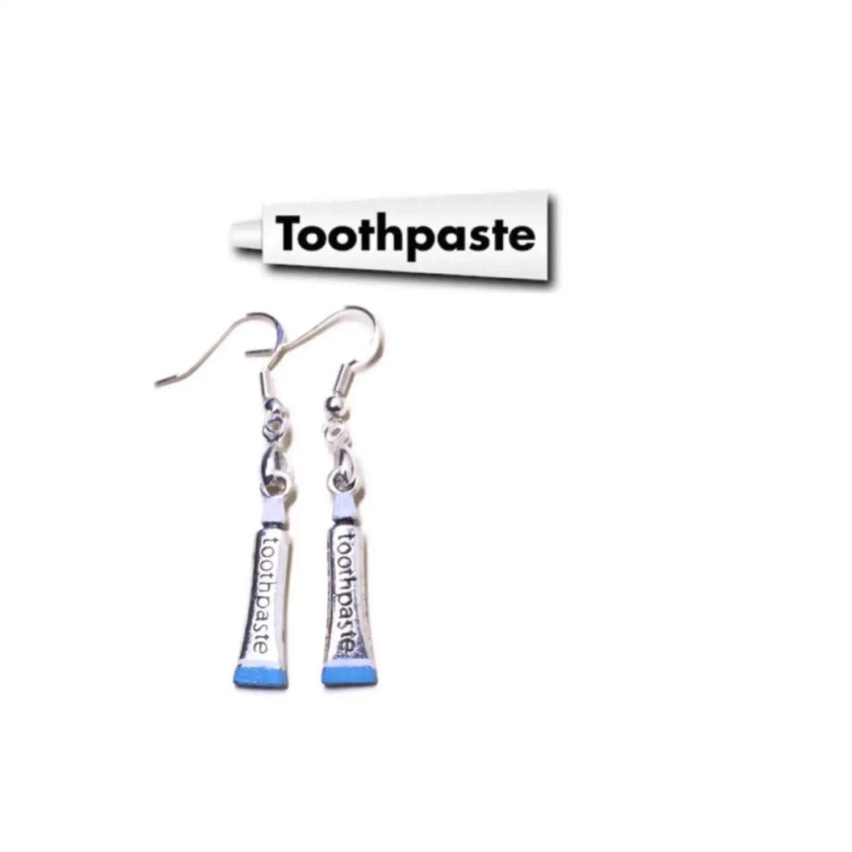 Toothpaste Earrings 925 Sterling Wires Tooth Teeth Dental