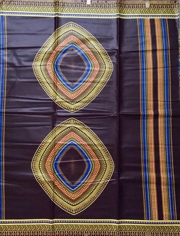 African Print Fabric Dutch Wax Ankara - Regal Brown & Yellow 'nguzo Saba Of Kwanzaa' Yard