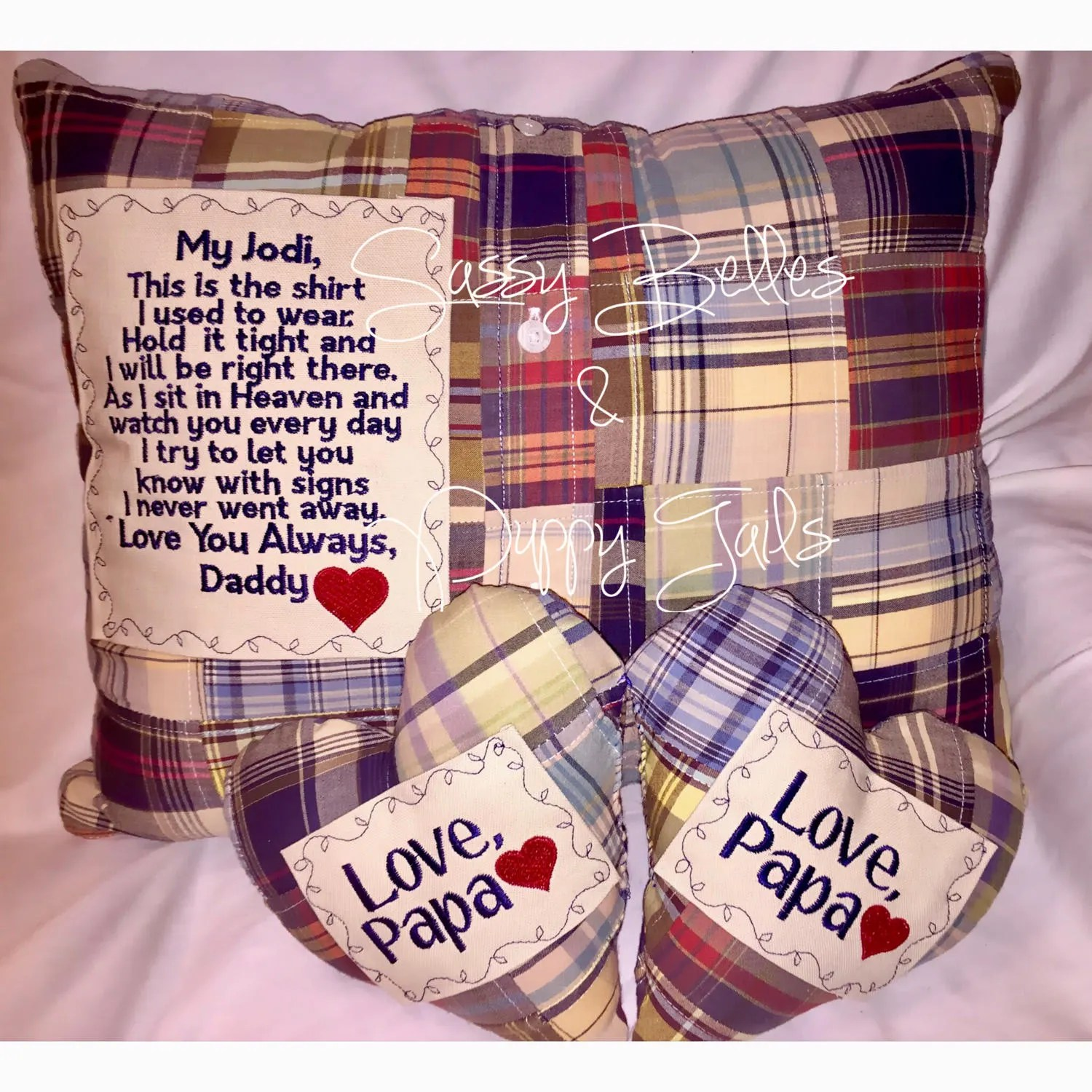 Memorial pillow Memory Pillow with Embroidered patch this