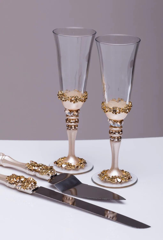 Gold Wedding Glasses And Cake Server Set Wedding Cake Knife
