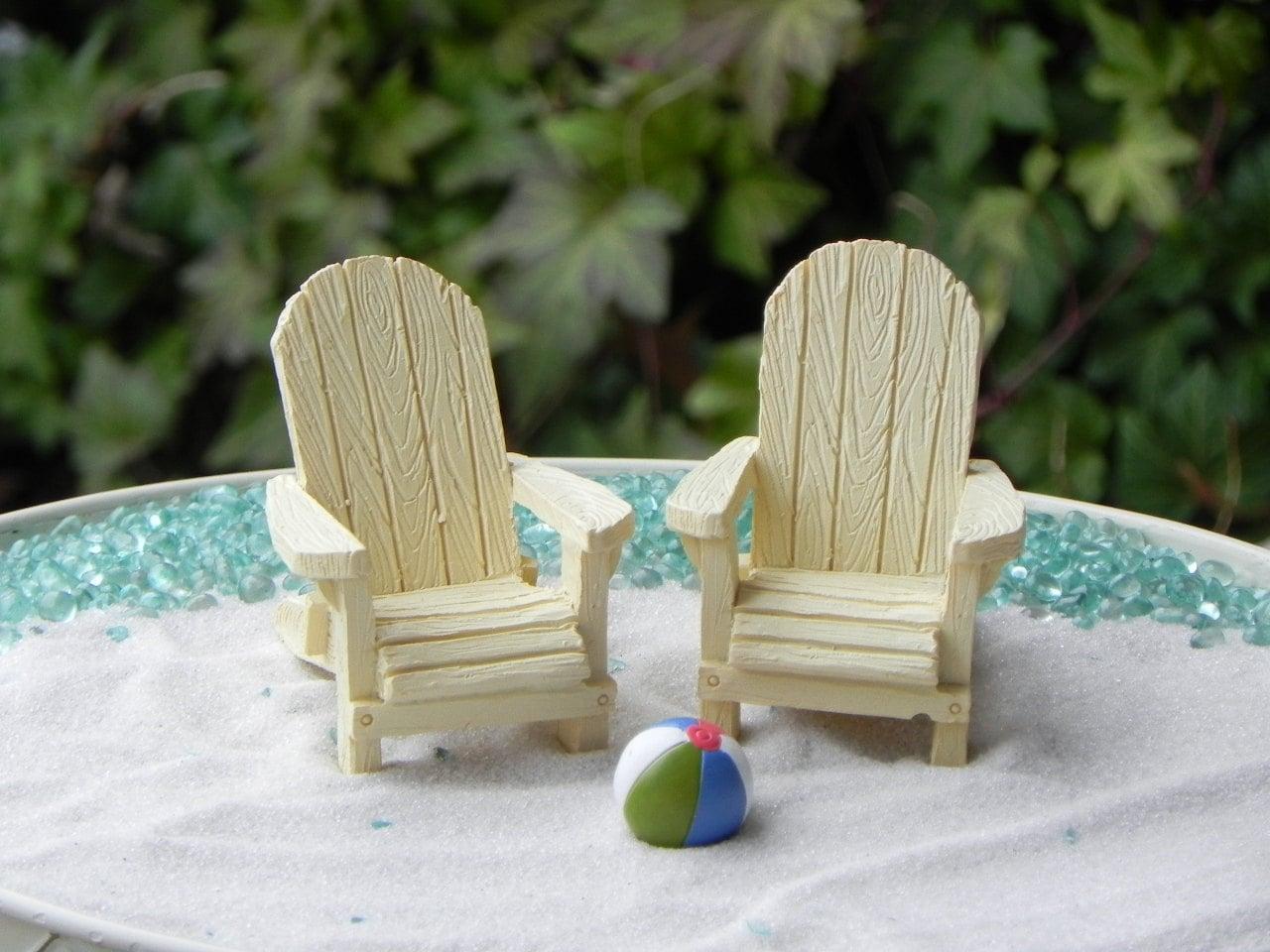 Miniature Adirondack Chair cream off white fairy beach