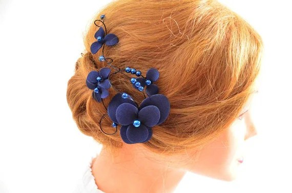 Navy Blue Fascinator Bridesmaids Navy Head Piece Wedding Hair