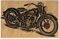 Vintage Motorcycle Screen Print Wood Painting Wall Art / Bike