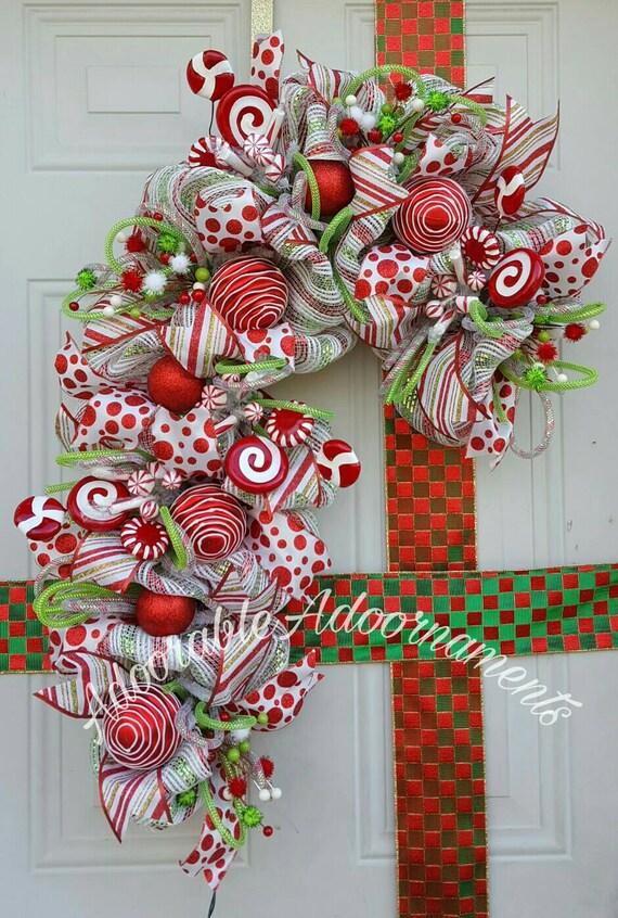 Items similar to Candy cane deco mesh wreath. Christmas Candy cane. whimsical candy cane wreath front door decor. Christmas lighted wreath on Etsy