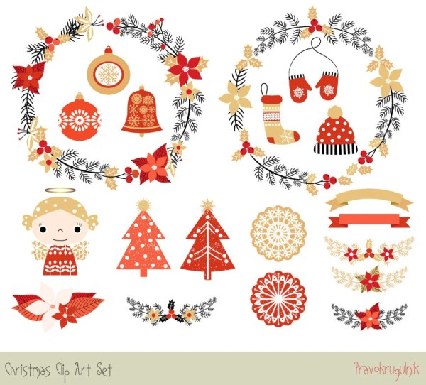 cute christmas clipart set holiday