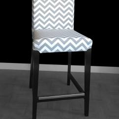 Custom Chair Covers Ikea Modern Orange Dining Chairs Uk Pair Of Henriksdal Bar Stool Grey Zig Zag