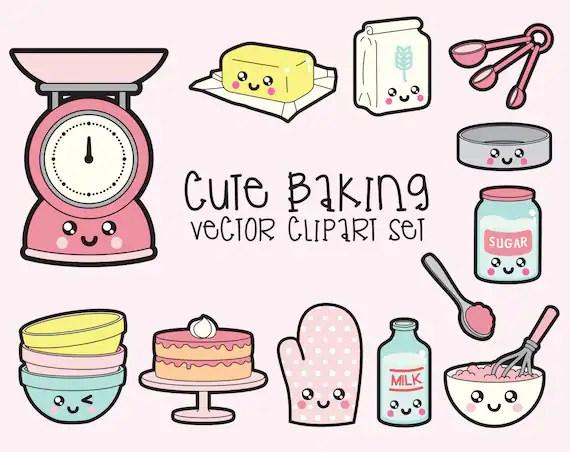 premium vector clipart kawaii baking