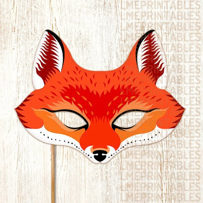 Red Fox Mask Printable Animal Masks Paper Mask Childrens Party
