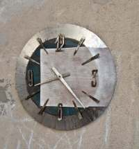 Big wall clock metal and white wood round clock wrought iron