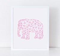 ELEPHANT Print Printable Wall Art Pink Geometric Elephant