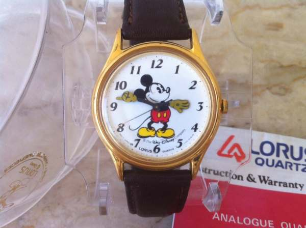 Vintage Mickey Mouse Watch And Clear Box & Papers