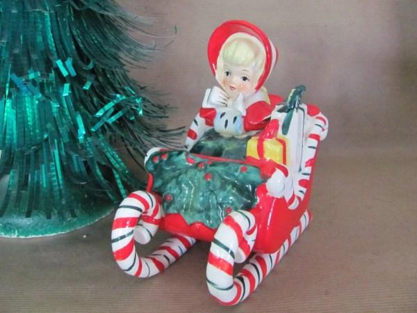 Vintage Christmas Figurine 1950' Lefton Girl