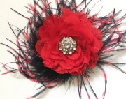 red black hair flower feather chiffon