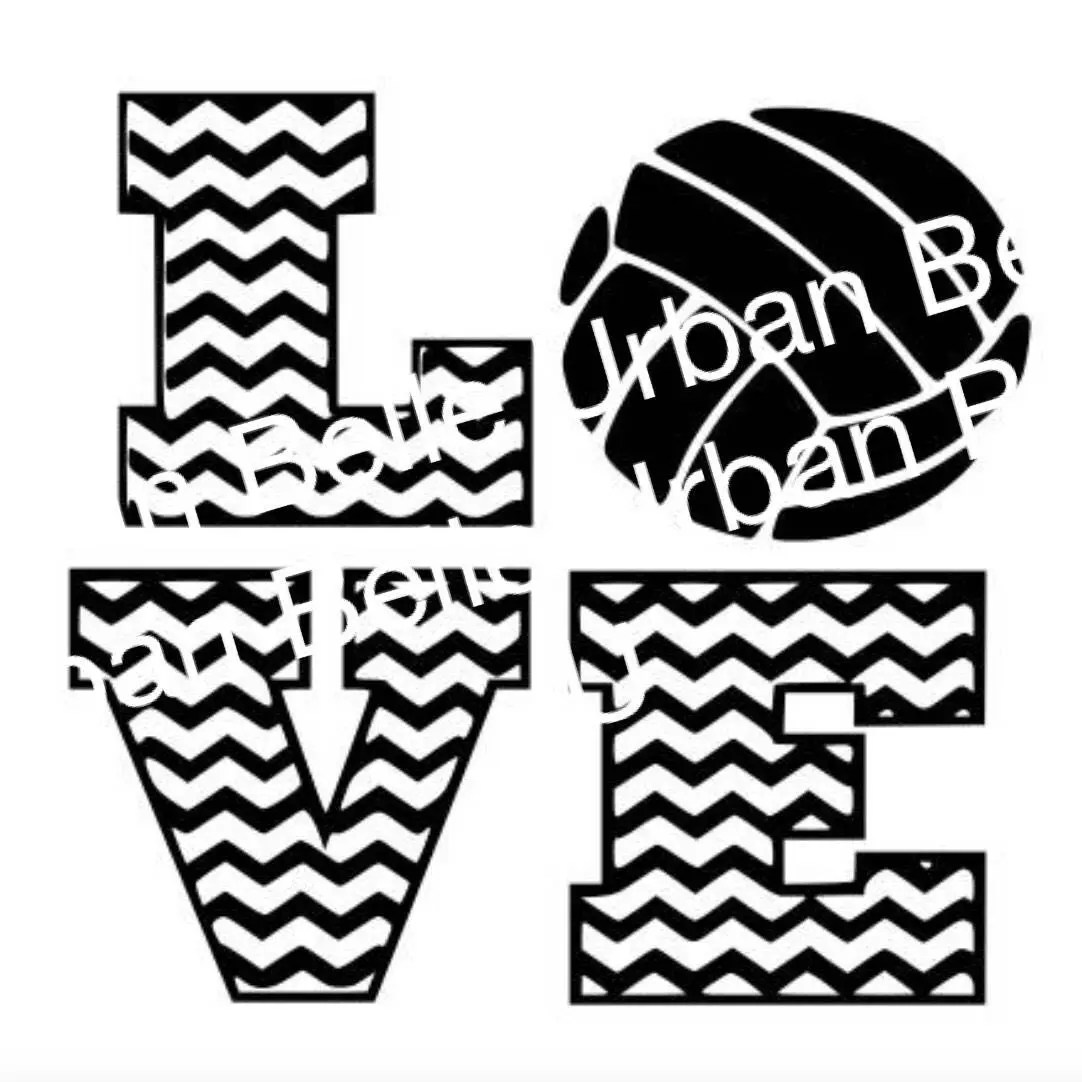 Chevron Volleyball Love .svg dxf cutting file vinyl or paper