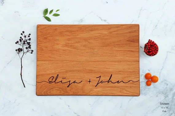 Unique Bridal Gift Couple Scipt Names Cutting Board Custom Wooden Large Wedding Present Engraved Engagement Best Friend Personalized Love