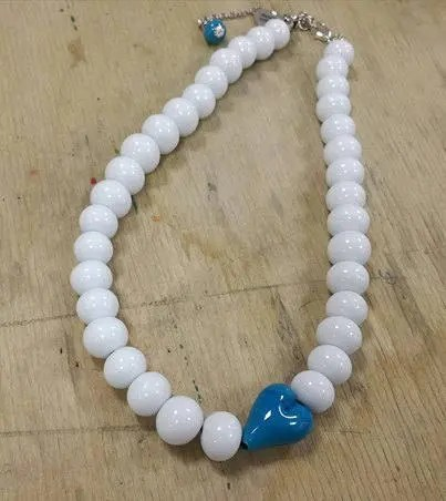 necklace white with turqu...