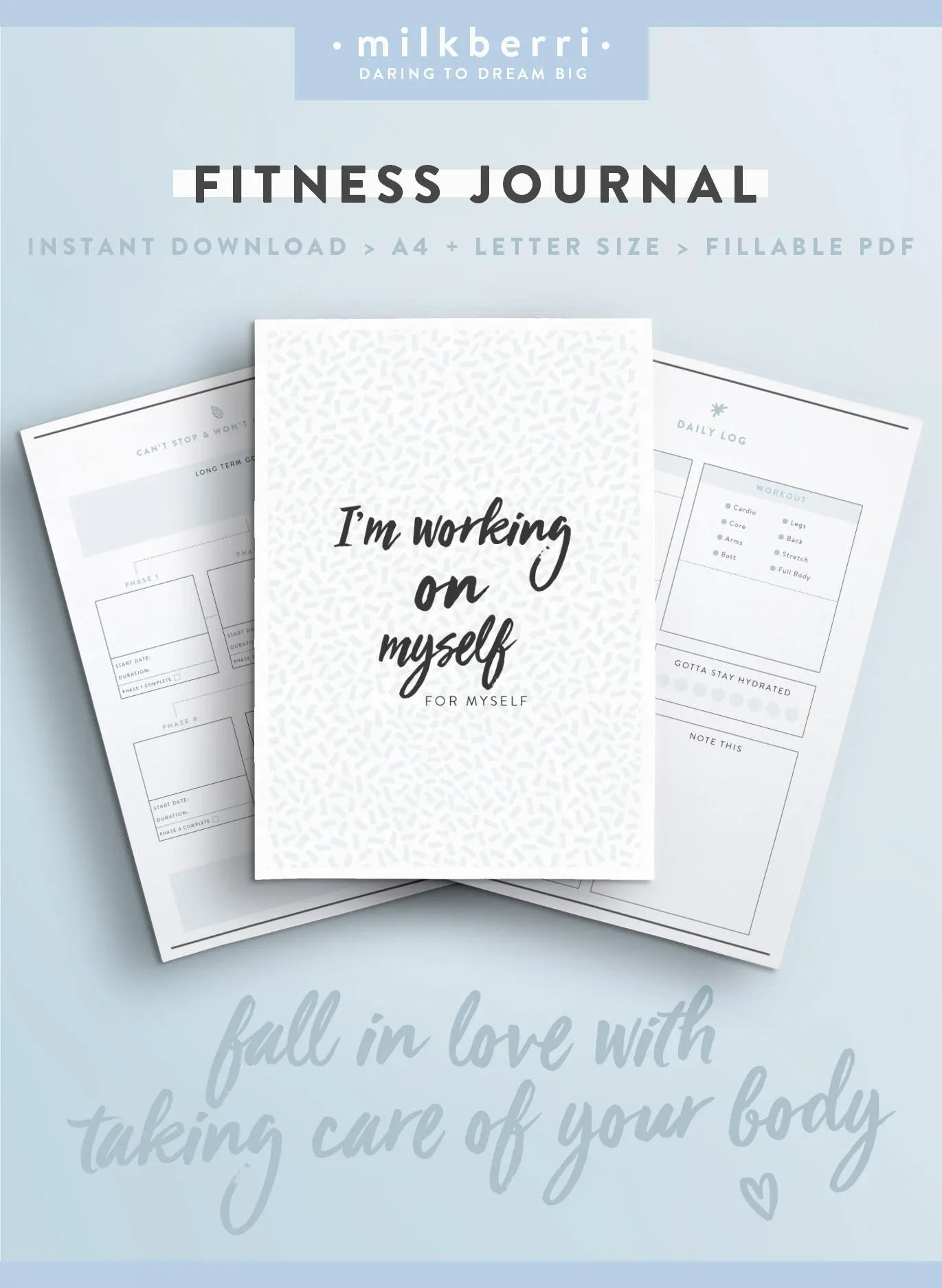 Fitness Goal Kit Health Fitness Journal Goal Setting Daily