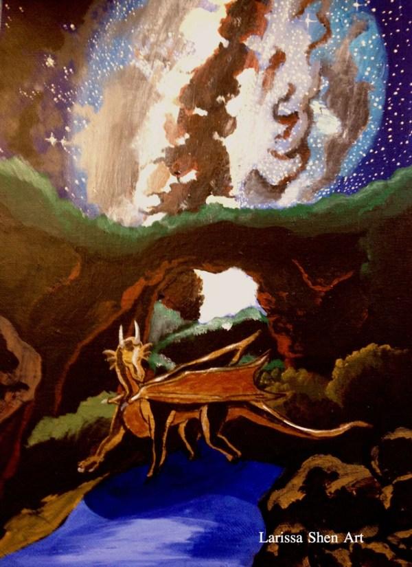 Original Art Acrylic Surreal Fantasy Dragon Painting Cave Of