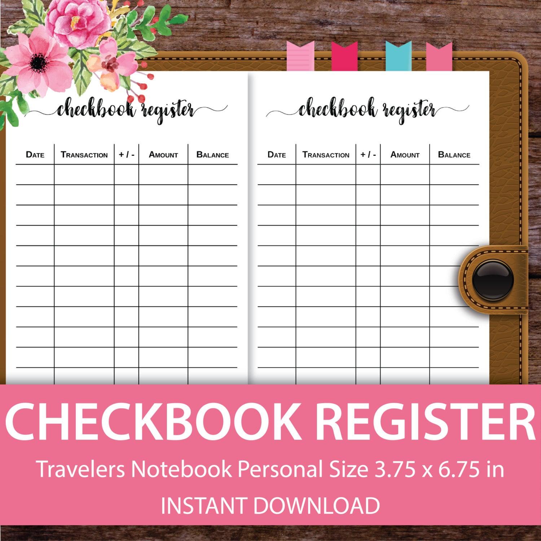 Checkbook Register Check Register Personal By