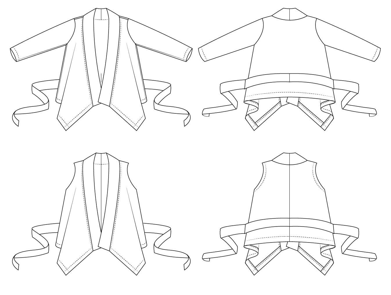 Drape cardigan or vest with belt // sewing pattern pdf