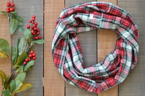 Red Plaid Scarf, Tartan Plaid Scarf, Christmas Scarf for her, Red Flannel Cowl, Red Plaid Infinity Scarf, Red and Green Snood, Royal Stewart