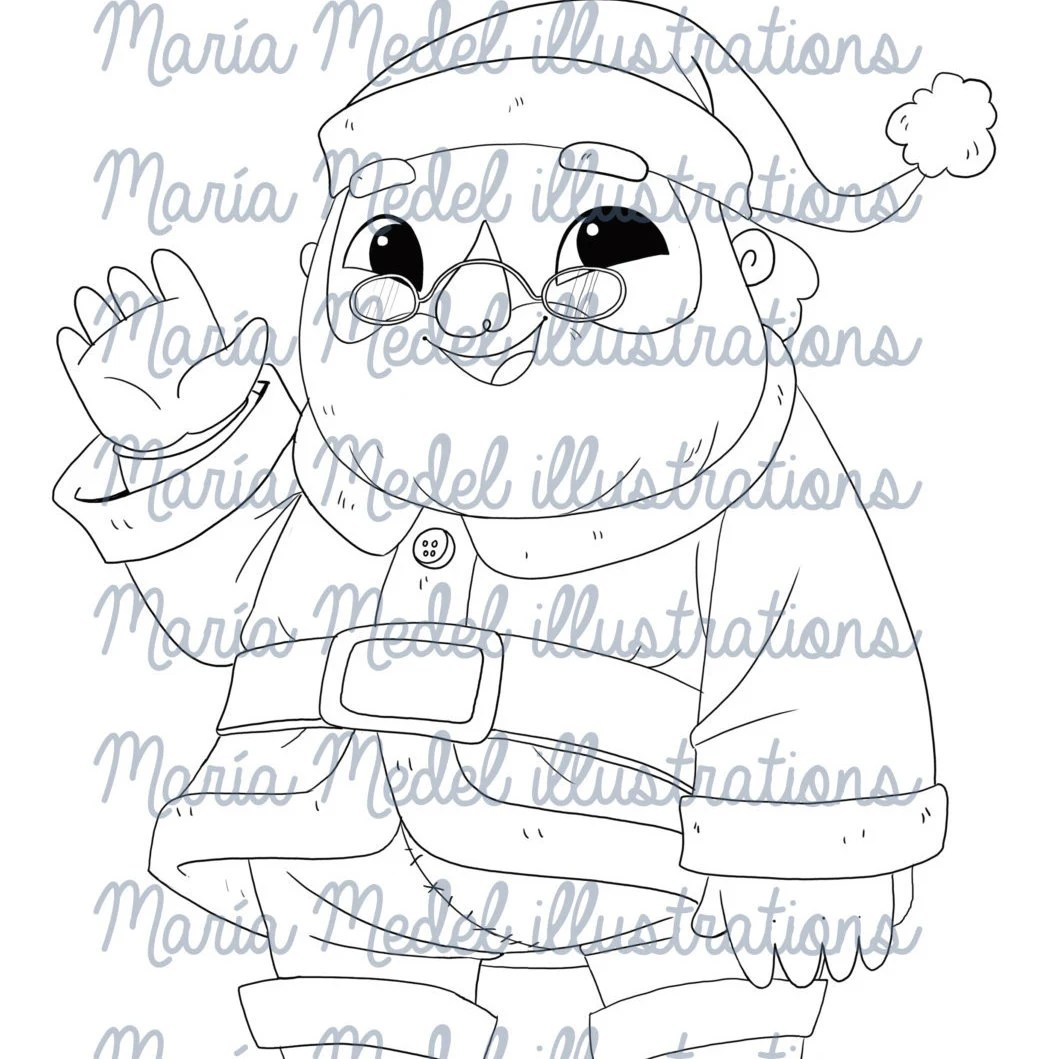 Santa Claus gift tag. Christmas Digital Stamp. Instant