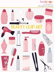 beauty clip art set styling products