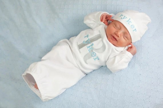 Newborn Baby Boy Monogram Personalized Take Home by mamabijou