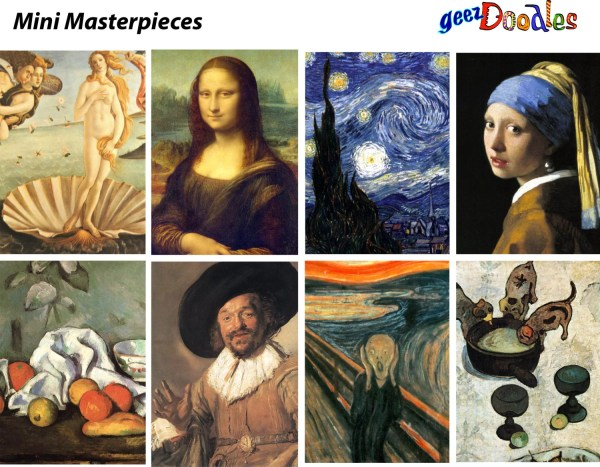 Classic Paintings Collage Sheet Famous Clip Art