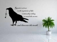 raven decal, raven wall art, raven wall decor, curiosity ...