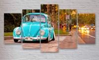 Volkswagen Beetle Bug Classic Car 5 Piece / Panel Canvas