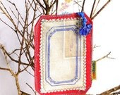Luggage label, travel tag, ID bag, fabric and leather