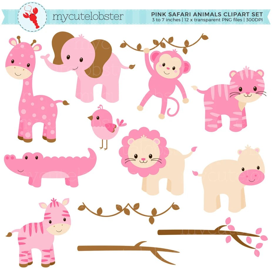 Pink Baby Safari Animals
