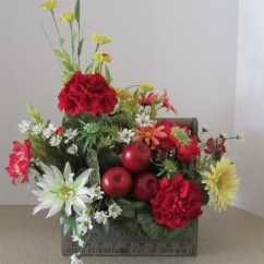 Kitchen Island Centerpiece Delta Faucets Wood Tool Box Floral Design Silk Flower Arrangement With