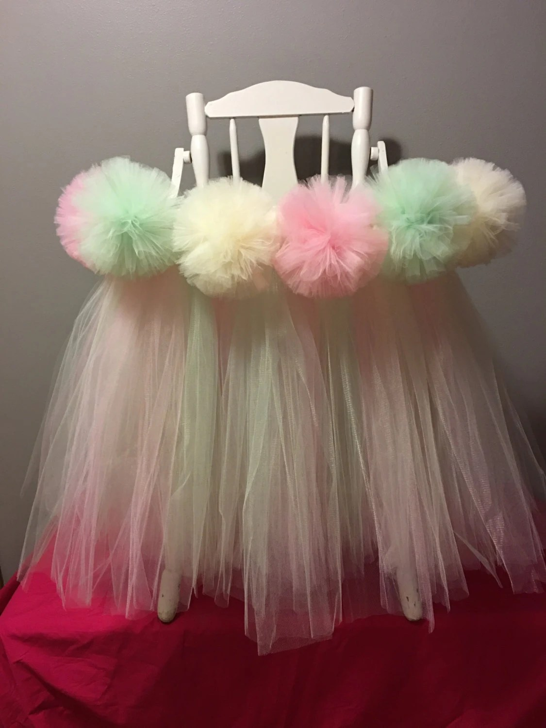 high chair tutu bubble hanging ikea pink and mint highchair pompoms