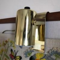 Mid Century Leviton Bed Hook Lamp Brass Small Round
