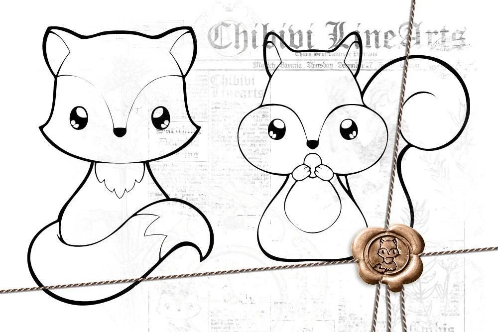 Digital Stamp Fuchs & Eichhörnchen LineArt Malvorlage