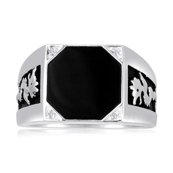 2a5f102439 Men  Octagon Black Onyx Ring With Dragon Detail Sides