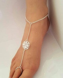 Silver Filigree Foot Jewelry Anklet Wedding Barefoot Sandal