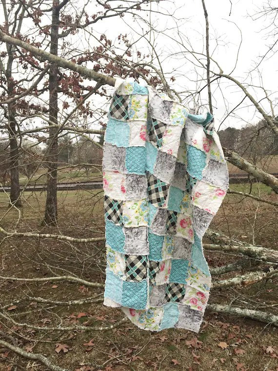 Throw Quilt, Large Size, little Cove, turquoise florals, granny chic, comfy cozy handmade home decor, READY TO SHIP, quilts
